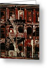Building Facade In Brown And Red Greeting Card