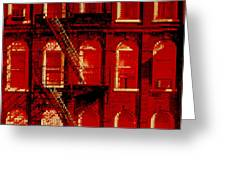 Building Facade In Red And White Greeting Card