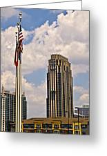 Buildings And Flags Against Sky Greeting Card