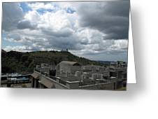 Buildings Cover The Lower Section Of A Hill That Has A Temple At The Top With Clouds Covering The Sk Greeting Card