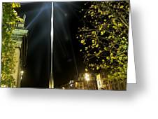 Buildings Lit Up At Night, Oconnell Greeting Card