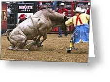 Bull 1 - Cowboy 0 Greeting Card