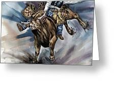 Bull Bucking His Rider Greeting Card