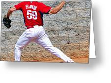Bullpen Action Greeting Card by Carol Christopher