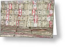 Bundles Of Five Dollar Bills Greeting Card by Adam Crowley