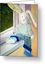 Bunny On Window Ledge Greeting Card