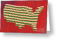 Burger Town Usa Map Red Greeting Card