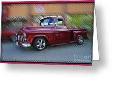 Burgundy Hot Rod Pick Up Abstract Greeting Card