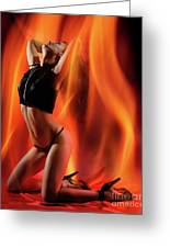 Burning In Flames Greeting Card