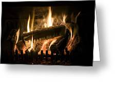 Burning Wood On An Open Fire Greeting Card