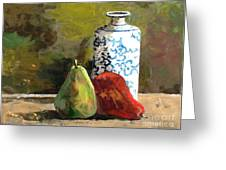 Burnished Pears With Vase Greeting Card