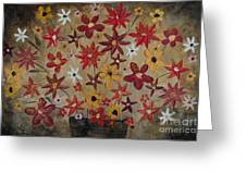 Burst Of Flowers Yellow And Red Greeting Card