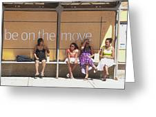 Bus Stop Greeting Card by Ted Lang