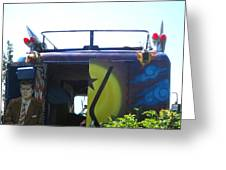 Bus With A 59 Cadillac On Top Greeting Card