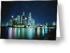 Business District Skyline At Night Greeting Card
