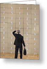 Businessman Facing A Cardboard Boxes Wall Greeting Card by Sami Sarkis
