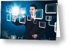 Businessman Pressing Touchscreen Greeting Card by Setsiri Silapasuwanchai