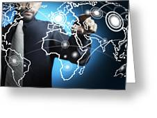 Businessman Touching World Map Screen Greeting Card by Setsiri Silapasuwanchai