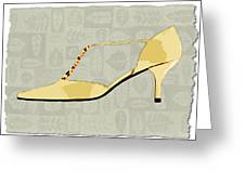 Butter Yellow Leather T Strap Heel Greeting Card