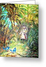 Butterfly Catcher  Greeting Card by Mary Sedici