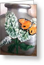 Buttlerfly Flower Miniature Vase Greeting Card