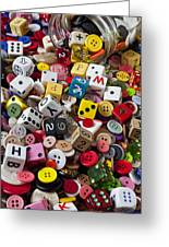 Buttons And Dice Greeting Card by Garry Gay
