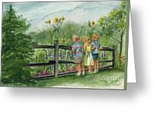 By The Garden Fence  Greeting Card