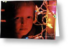 By The Glow Of Christmas Lights Greeting Card