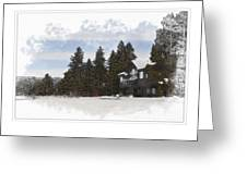 Cabin In Snow With Mountains In Background Greeting Card