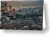 Cable Car In Grenoble  Greeting Card