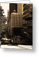 Cablecar On San Francisco California Street . Sepia . 7d7176 Greeting Card