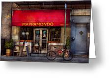 Cafe - Ny - Chelsea - Mappamondo  Greeting Card by Mike Savad