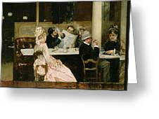 Cafe Scene In Paris Greeting Card by Henri Gervex