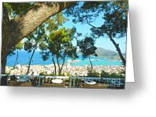 Cafe Terrace At Bohali Overlooking Zante Town Greeting Card