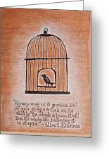 Caged Genius Greeting Card by Canis Canon