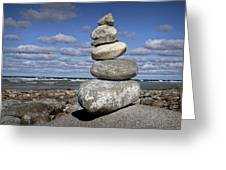 Cairn At North Point On Leelanau Peninsula In Michigan Greeting Card