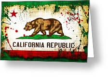 California Grunge Style Flag Greeting Card