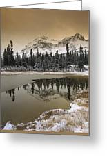 Canadian Rocky Mountains Dusted In Snow Greeting Card