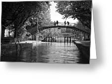 Canal Of St. Martin Bw Greeting Card