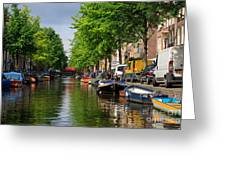 Canal Scene In Amsterdam Greeting Card