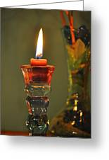 Candle And Colored Glass Greeting Card