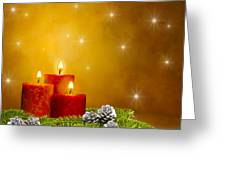 Candles Decorated Branches Of A Pine Tree And Fir Cones Greeting Card