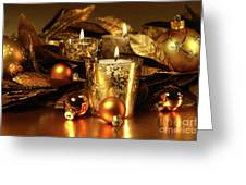 Candles Light In Sparkling Gold  Greeting Card