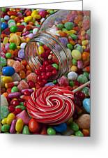 Candy Jar Spilling Candy Greeting Card