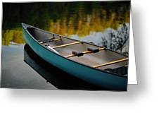Canoe And Reflections On A Still Lake Greeting Card