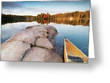 Canoe At A Rocky Shore Autumn Nature Scenery Greeting Card