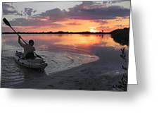 Canoe At Sunset Greeting Card