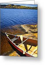 Canoe On Shore Greeting Card by Elena Elisseeva