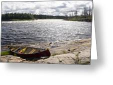Canoe Pulled Up On The Shore Greeting Card