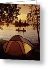 Canoeing At Otter Falls, Whiteshell Greeting Card